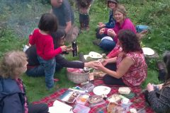 Enjoying a picnic on volunteer day