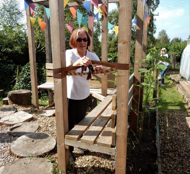 Pam Warhurst opening the garden