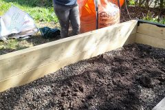 Creating the vegetable beds in April 2021 2